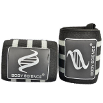 Body Science Super Strong Wrist Wraps, Black/Grey