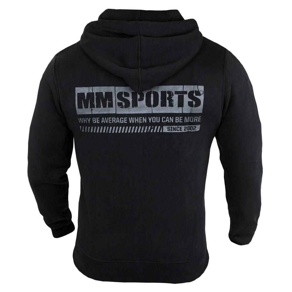 Ryggen av en svart MM Sports MM Hood HD träningshoodie