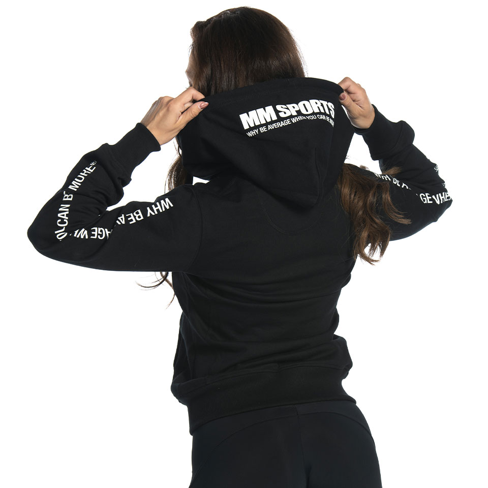 Svart MM Sports Hood Polly träningshoodie bak