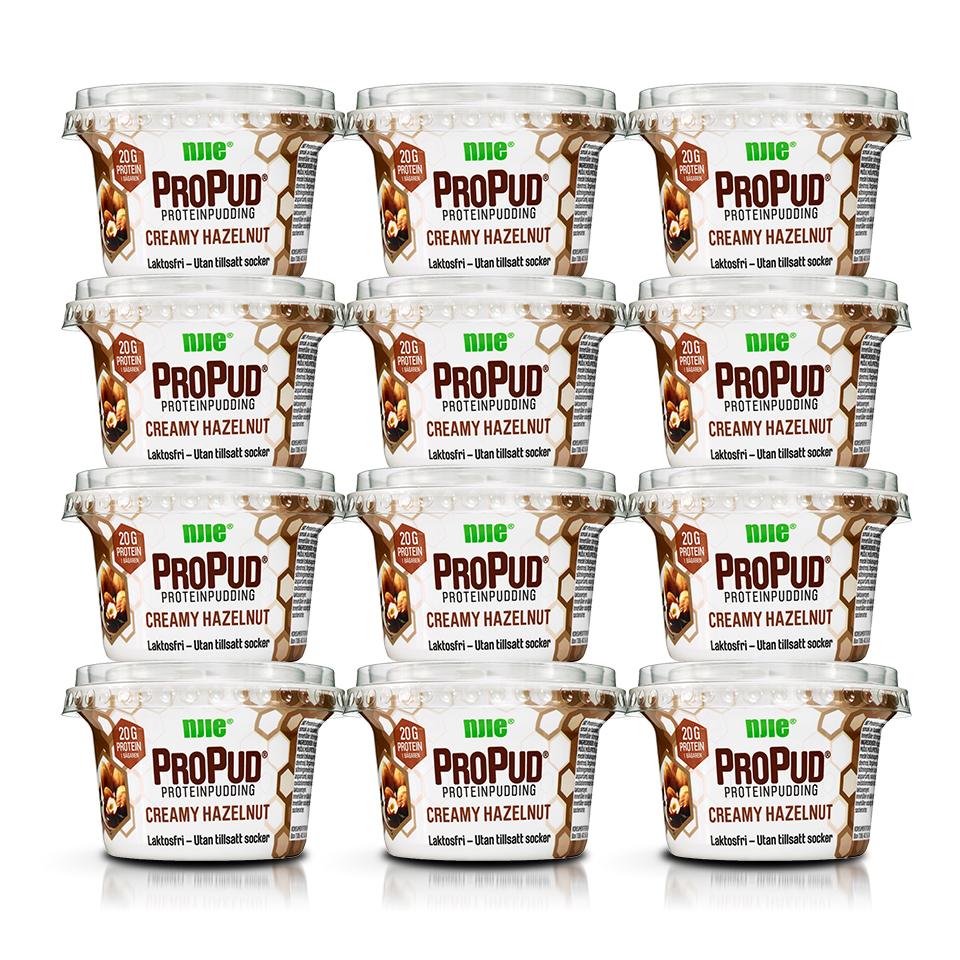 12 stycken NJIE ProPud Creamy Hazelnut proteinpudding