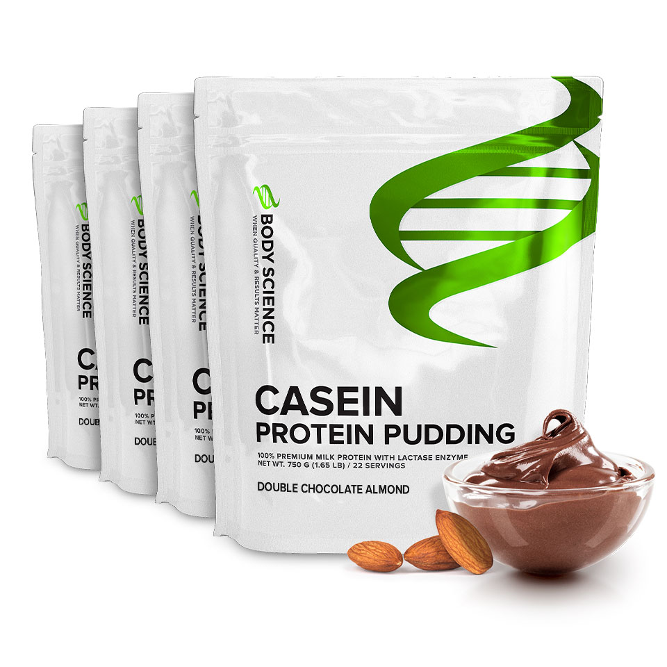 Fyra påsar Body Science Casein Double Chocolate Almond