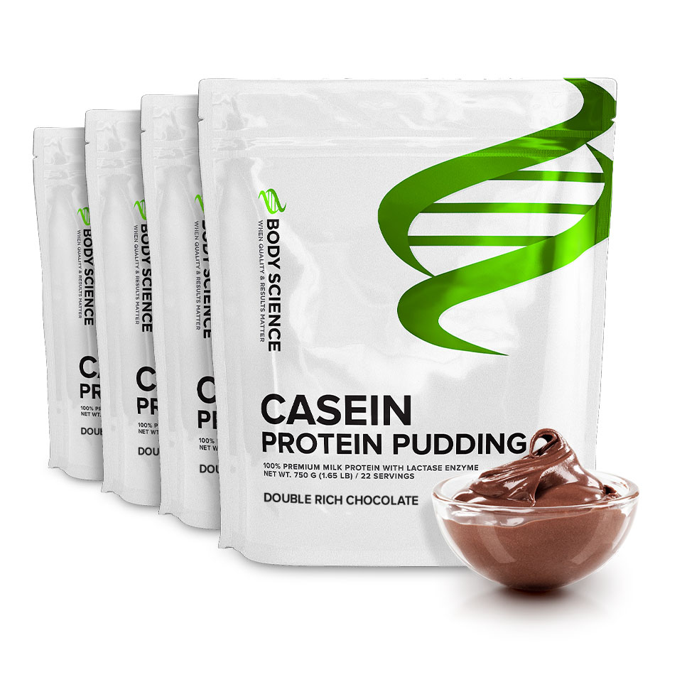 Fyra påsar Body Science Casein Double Rich Chocolate