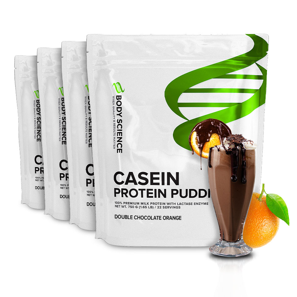 Fyra påsar Body Science Casein Double Chocolate Orange