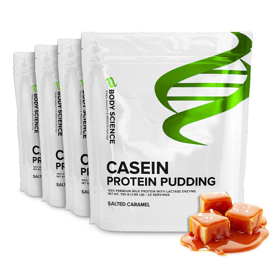Fyra påsar Body Science Casein Salted Caramel