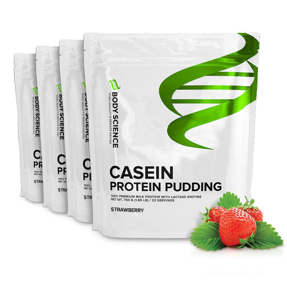 Fyra påsar Body Science Casein Strawberry