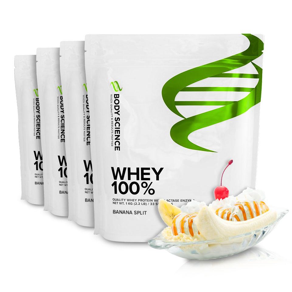 Fyra påsar Body Science Whey 100% med smak av Banana Split