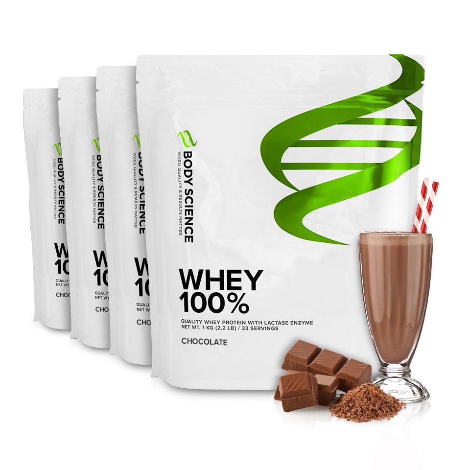 Fyra påsar Body Science Whey 100% med smak av Chocolate