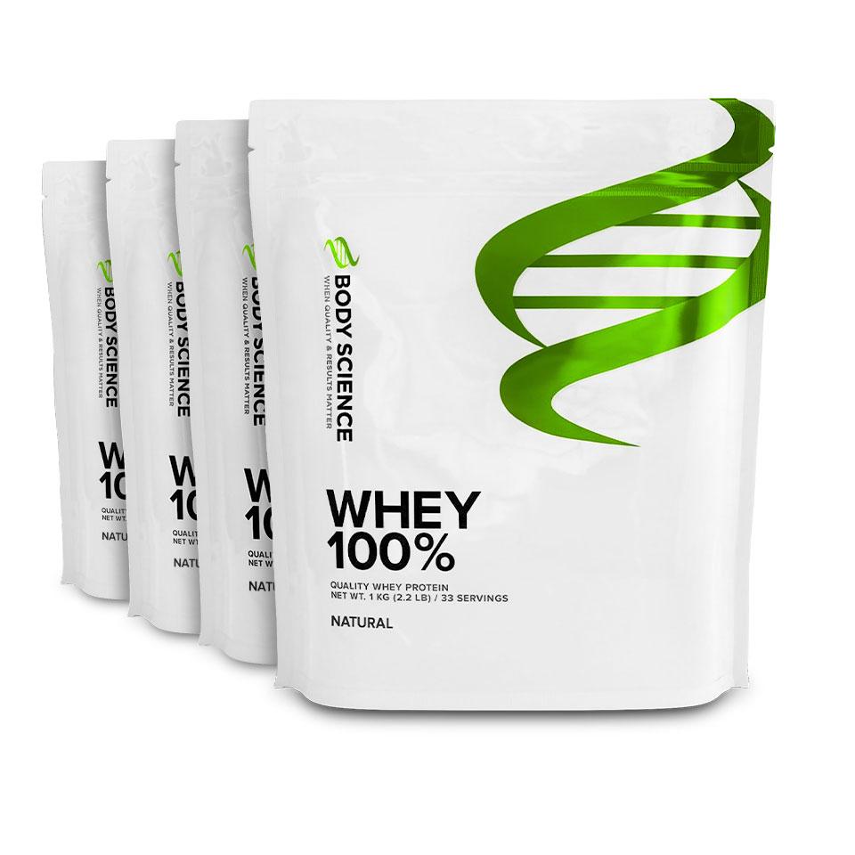 Fyra påsar Body Science Whey 100% med naturell smak