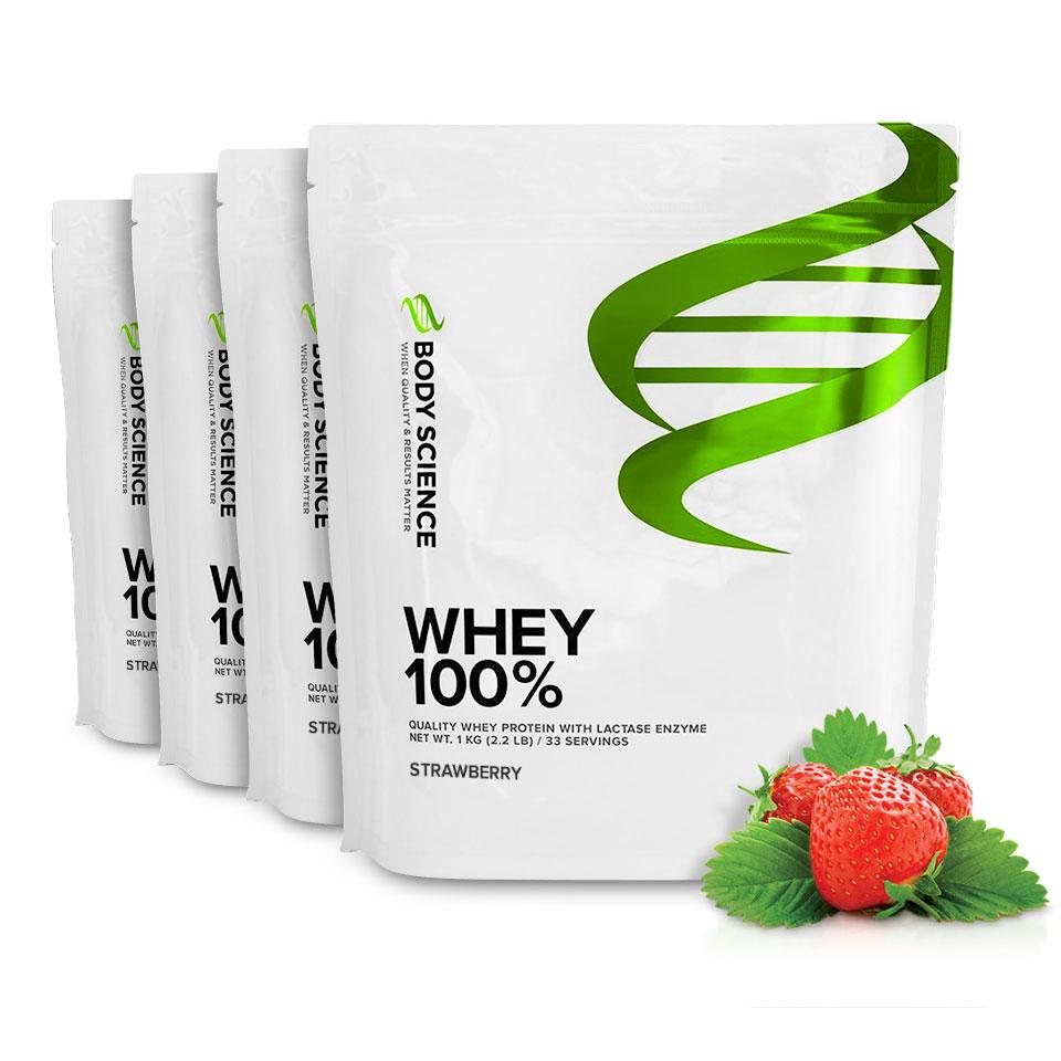 Fyra påsar Body Science Whey 100% med smak av Strawberry