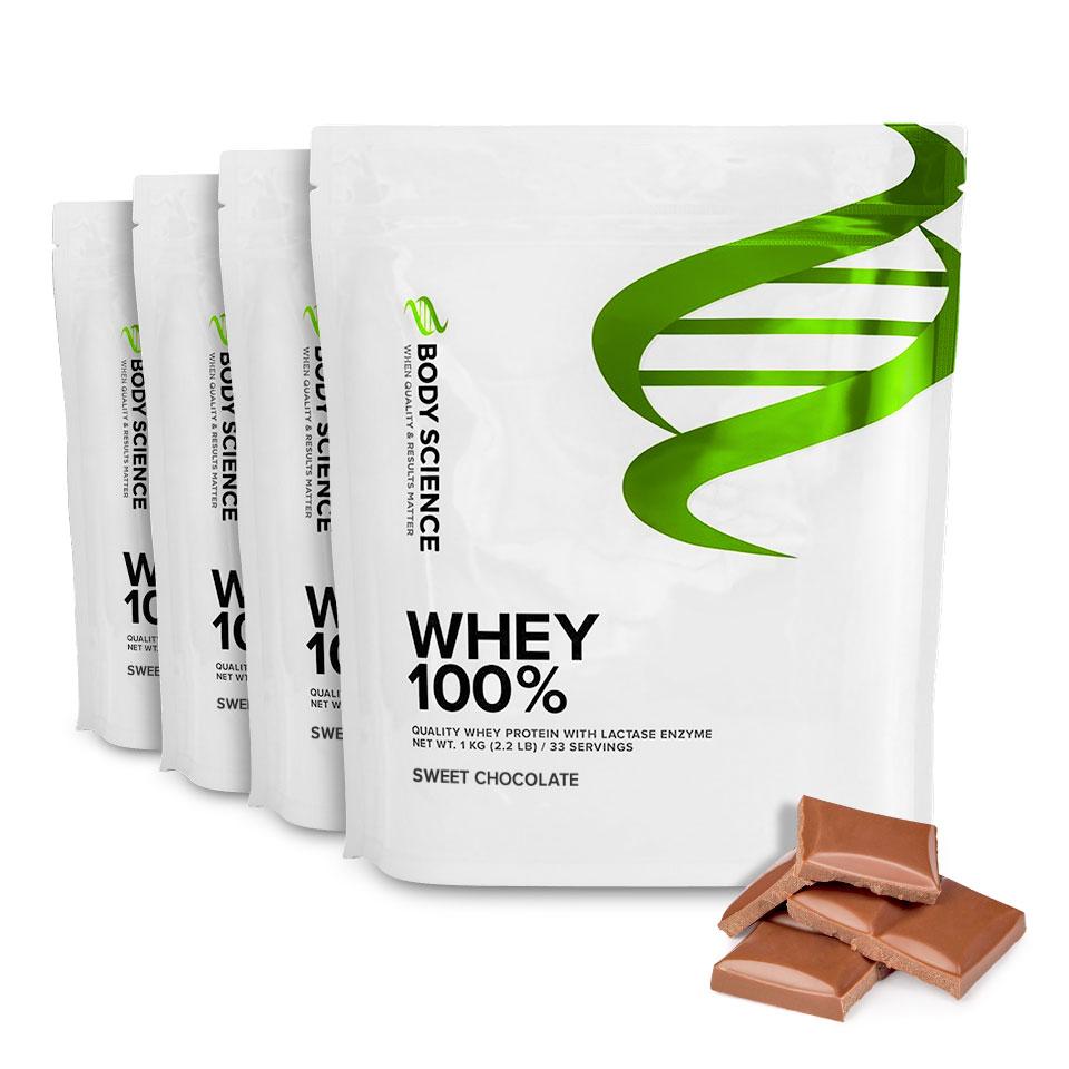 Fyra påsar Body Science Whey 100% med smak av Sweet Chocolate