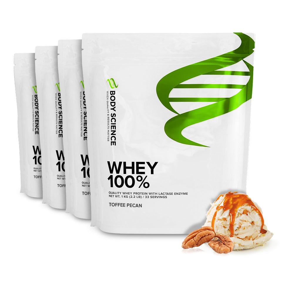 Fyra påsar Body Science Whey 100% med smak av Toffee Pecan