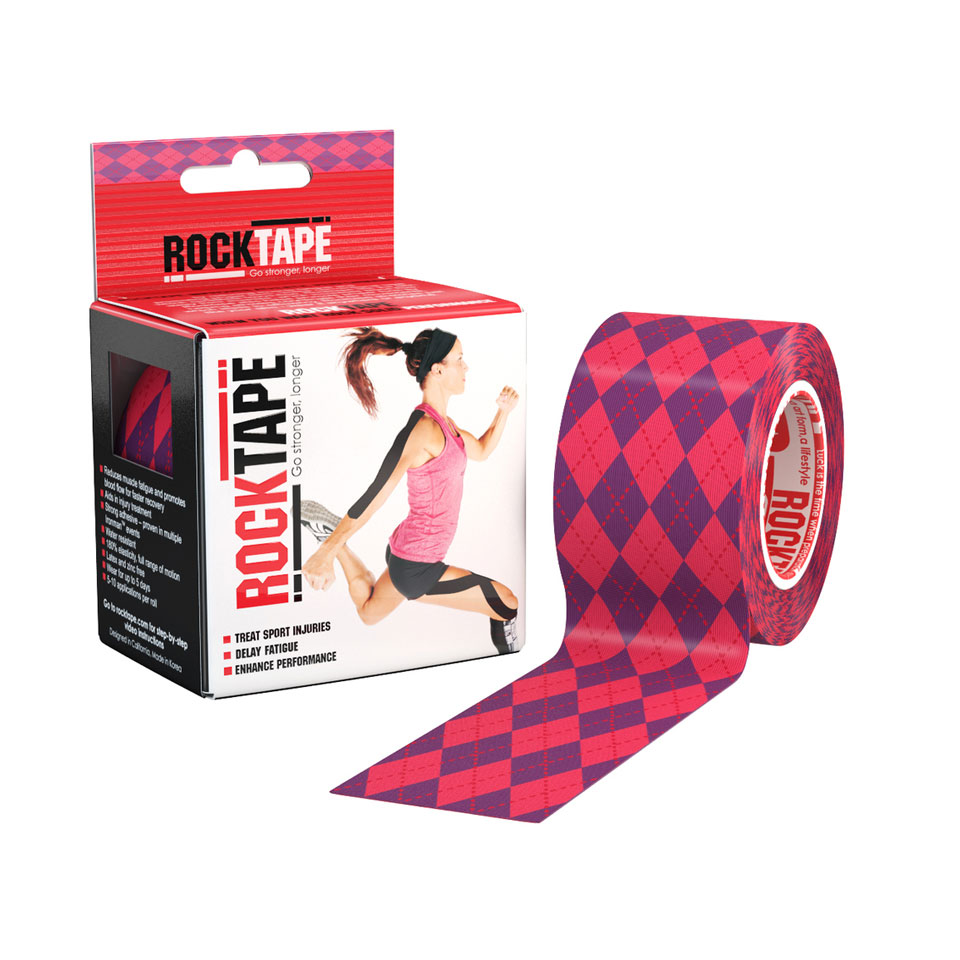 RockTape Kinesiologitejp 5cm x 5m Pink Argyle - RockTape