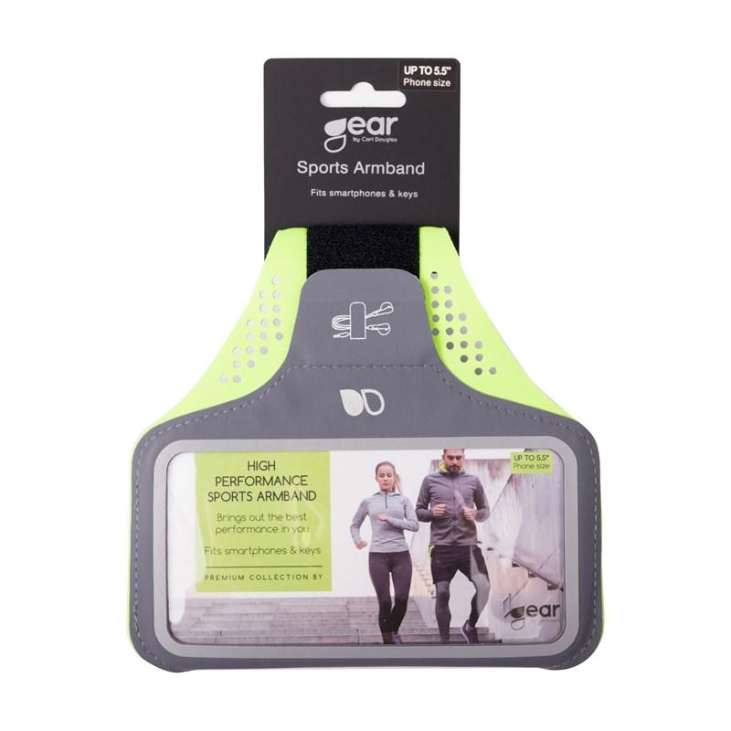 GEAR Sport Armband Premium 5,5'' ex. iPhone 6/7/8 Plus Grå/Gul - GEAR