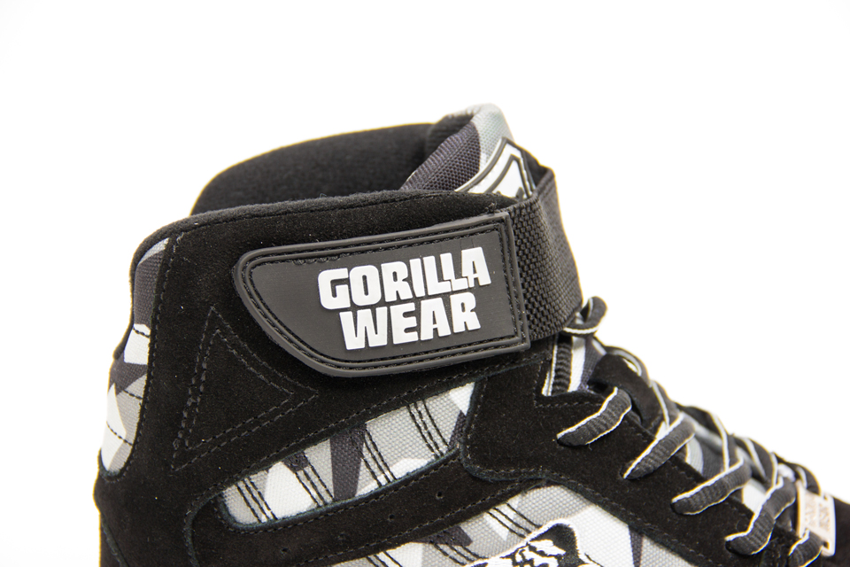 Kardborrespänne på Gorilla Wear Perry High Tops Pro Black/Grey Camo lyftarskor