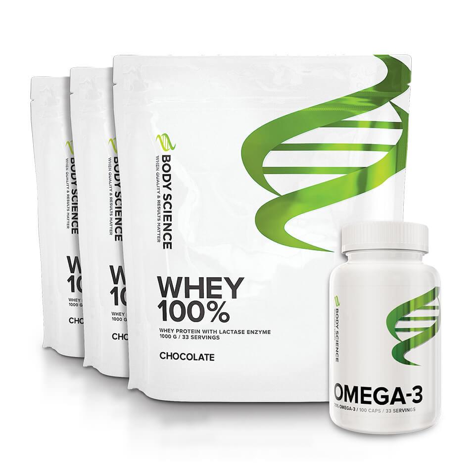 3 påsar Body Science Whey 100% och en burk Omega-3