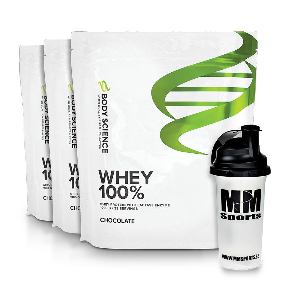 3 påsar Body Science Whey 100% och MM Sports shaker
