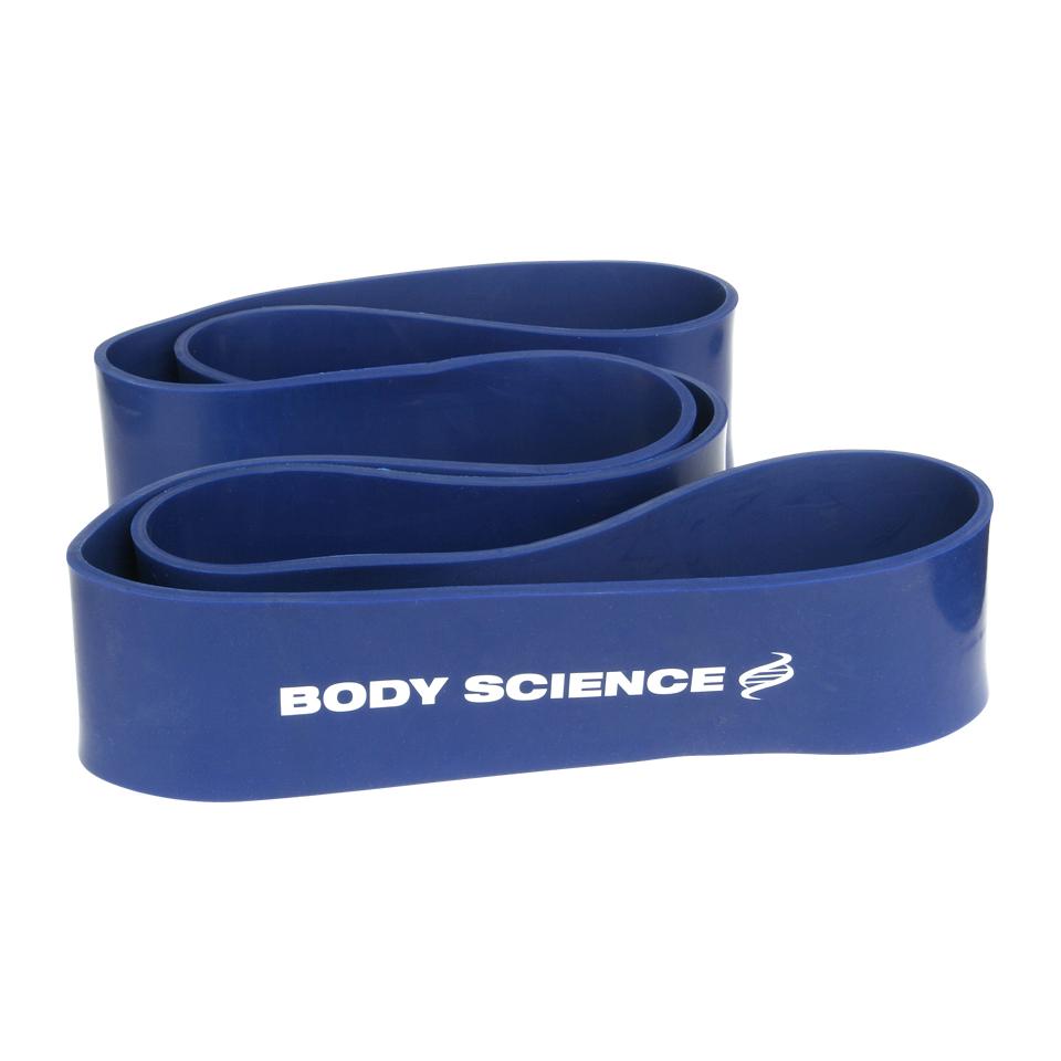 Blått Body Science Power Resistance Band träningsband med 54-79 kg motstånd