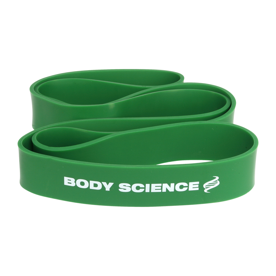 Grönt Body Science Power Resistance Band träningsband med 45-54 kg motstånd