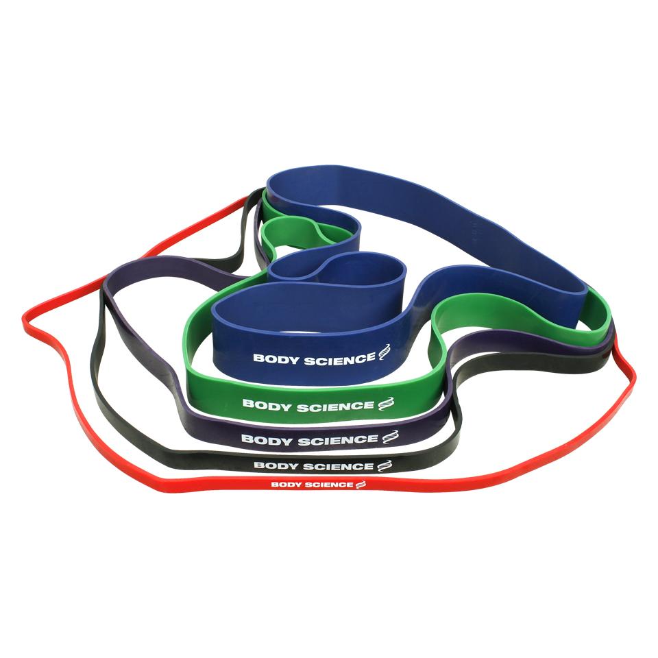 Body Science Power Resistance Band träningsband i olika storlekar och färger