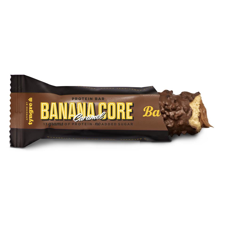 Barebells Corebar Banana Caramel öppnad
