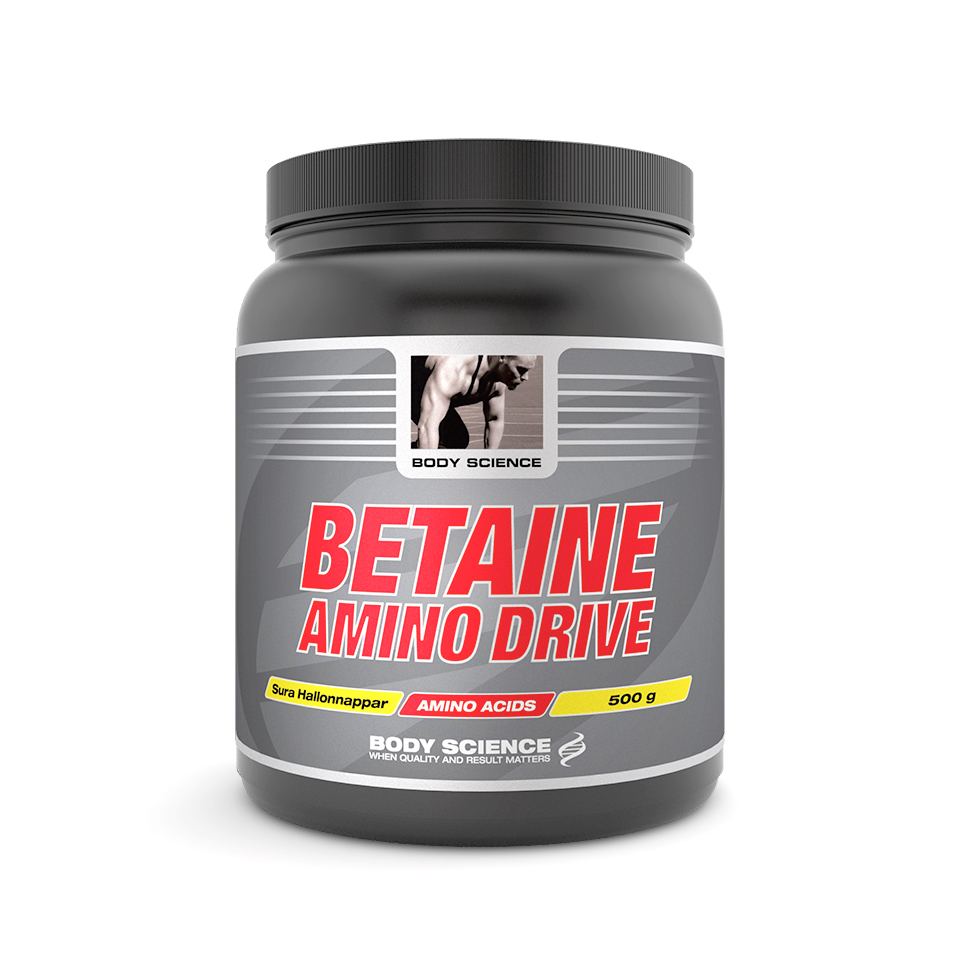 Body Science Betaine Amino Drive 500 gram Sura Hallonnappar - Body Science