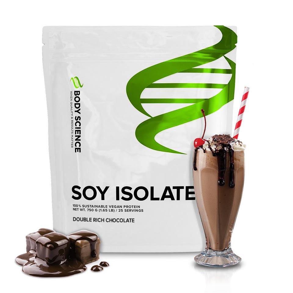 En påse Body Science Soy Isolate Double Rich Chocolate