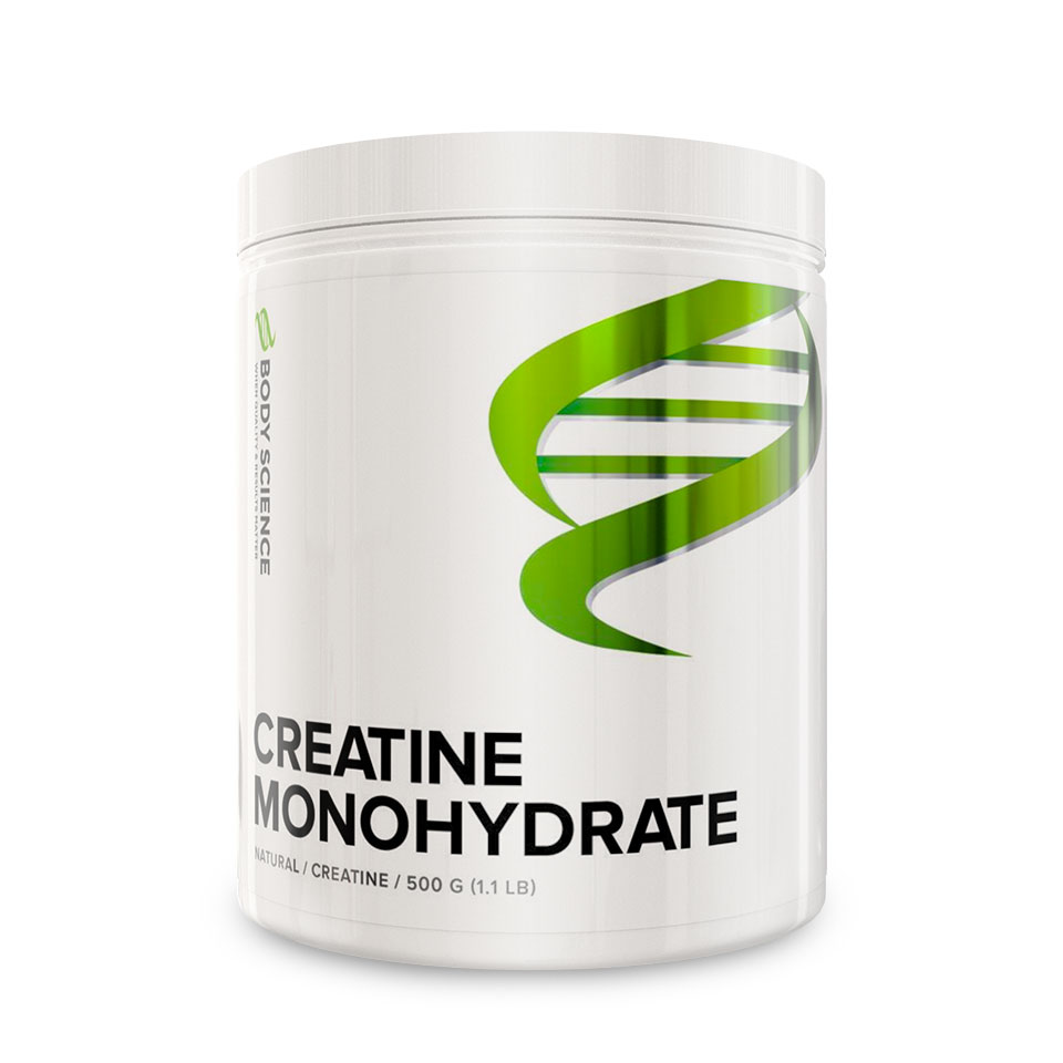 En burk Body Science Creatine Monohydrate