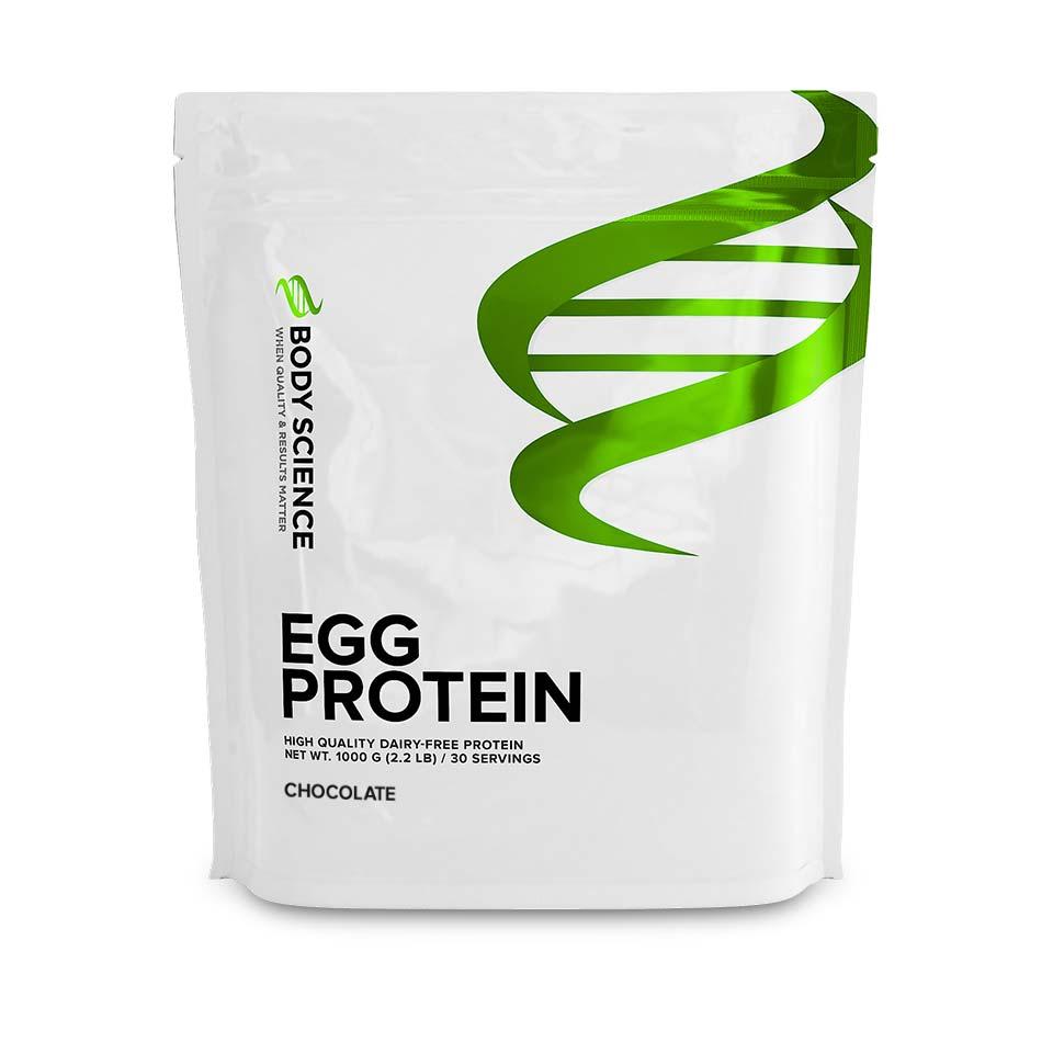 En påse Body Science Egg Protein med smak av choklad