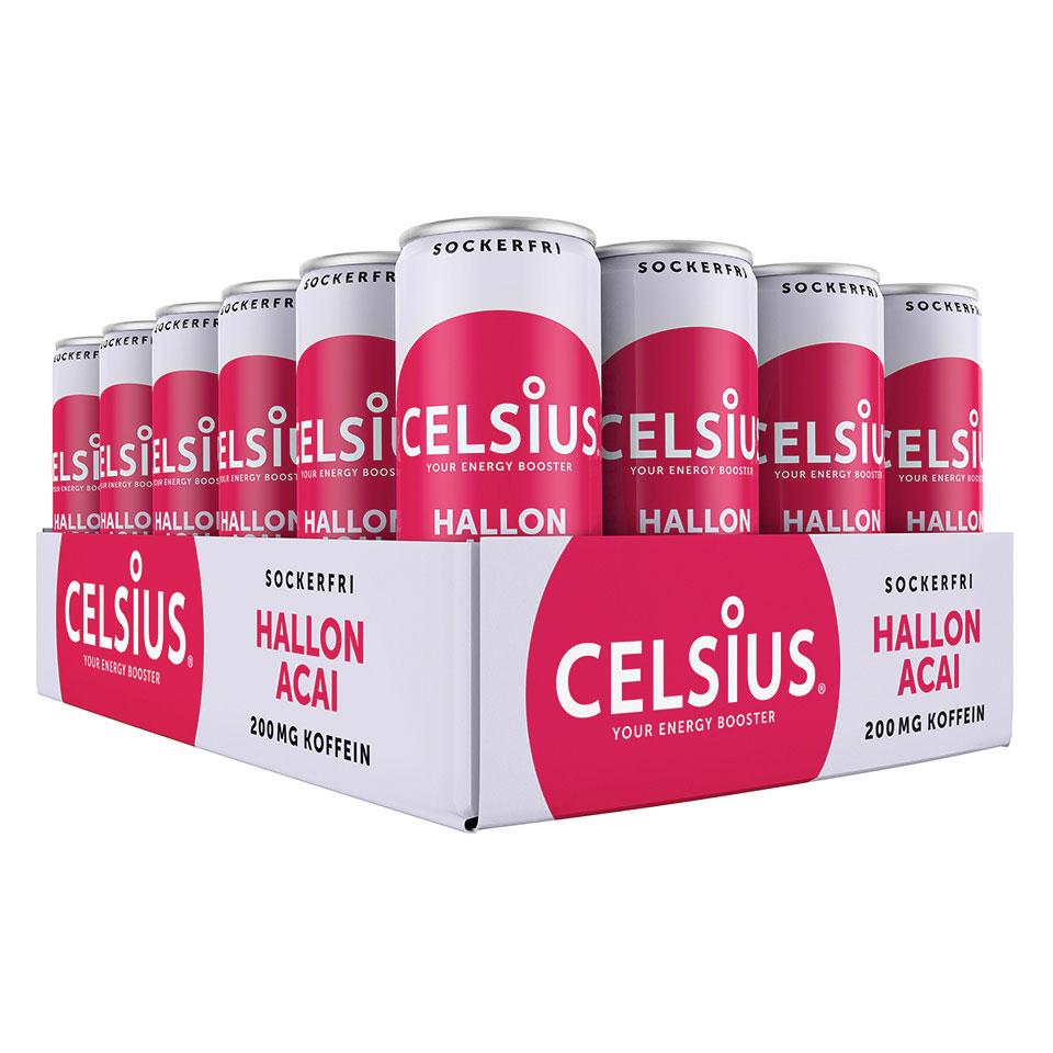 Ett Flak 24-pack Celsius energidryck med smak av Hallon/Acai