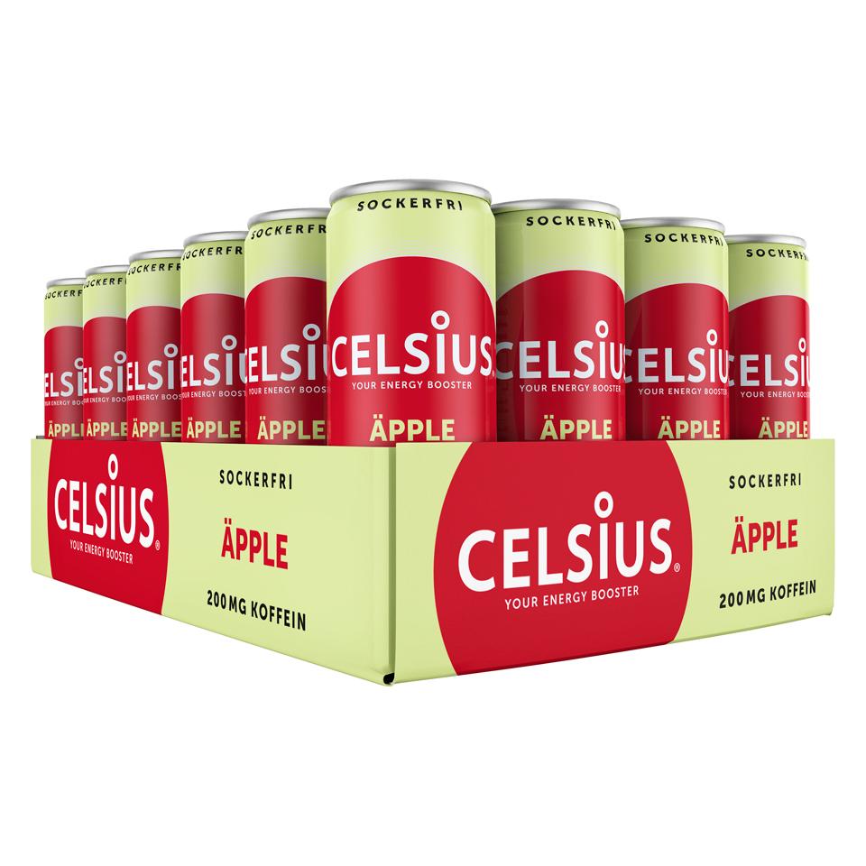 Ett Flak 24-pack Celsius energidryck med smak av Äpple