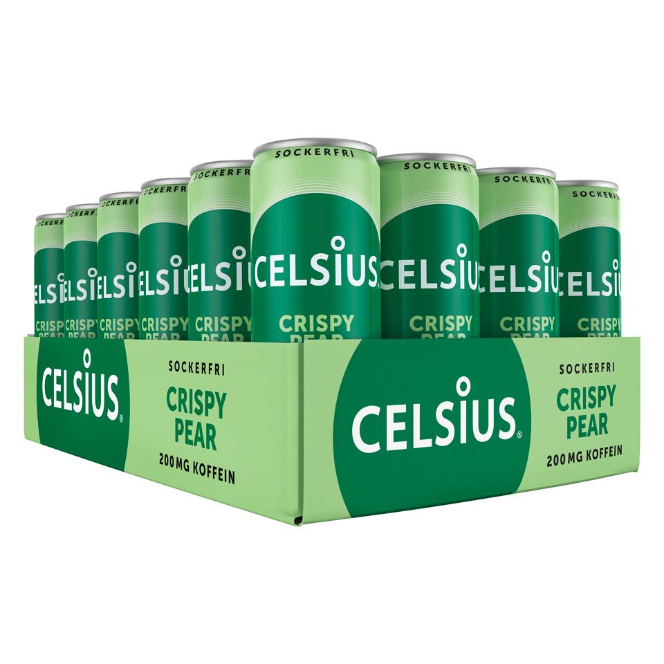 Ett Flak 24-pack Celsius energidryck med smak av Crispy Pear
