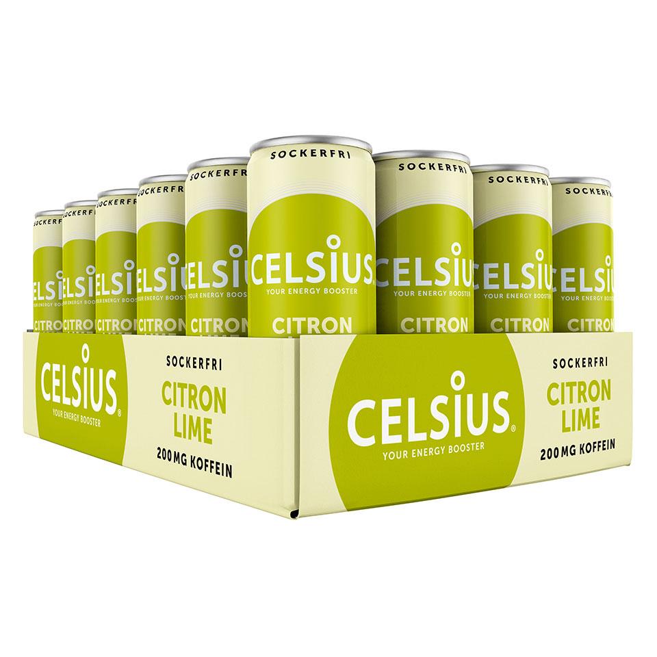 Ett Flak 24-pack Celsius energidryck med smak av Citron Lime