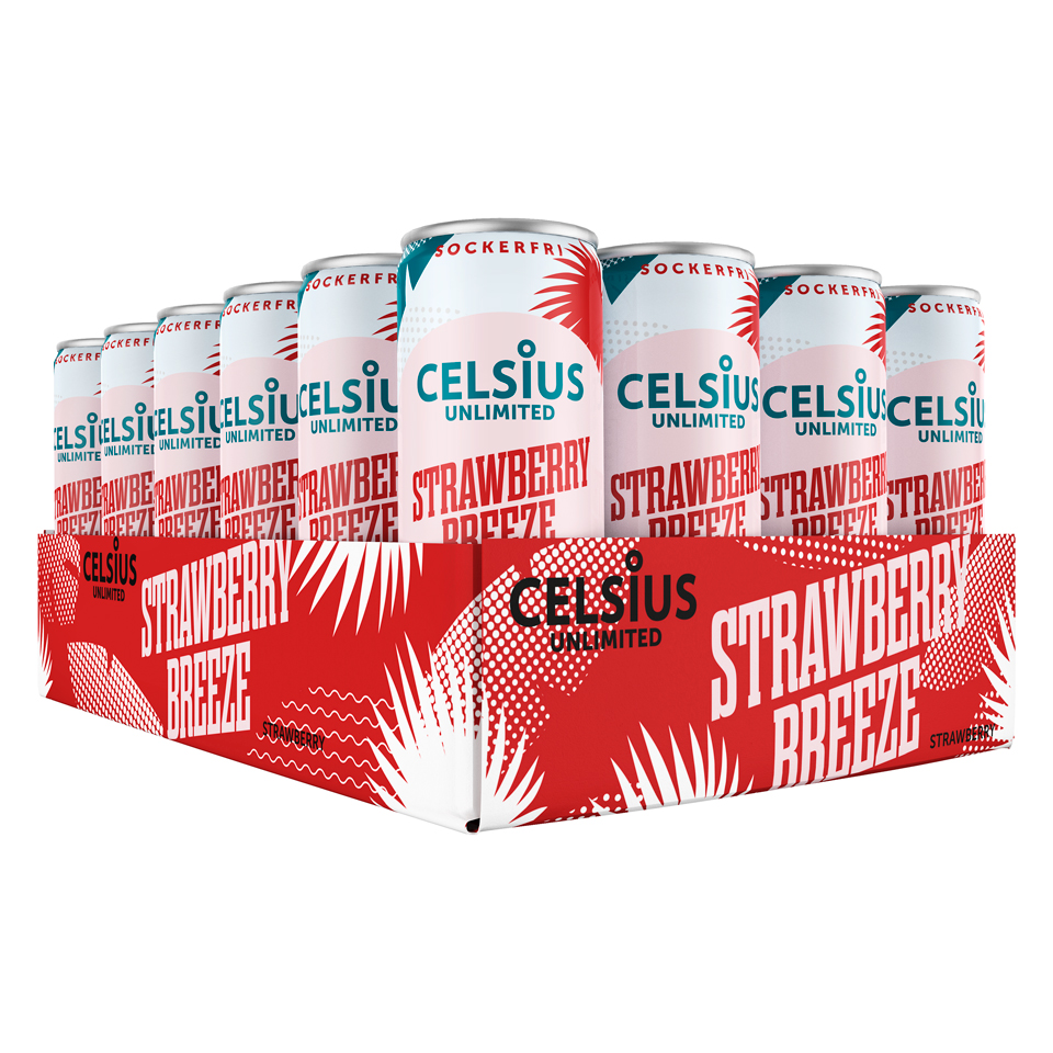 Celsius Unlimited Strawberry Breeze, 24 st helt flak 330 ml 75 mg koffein