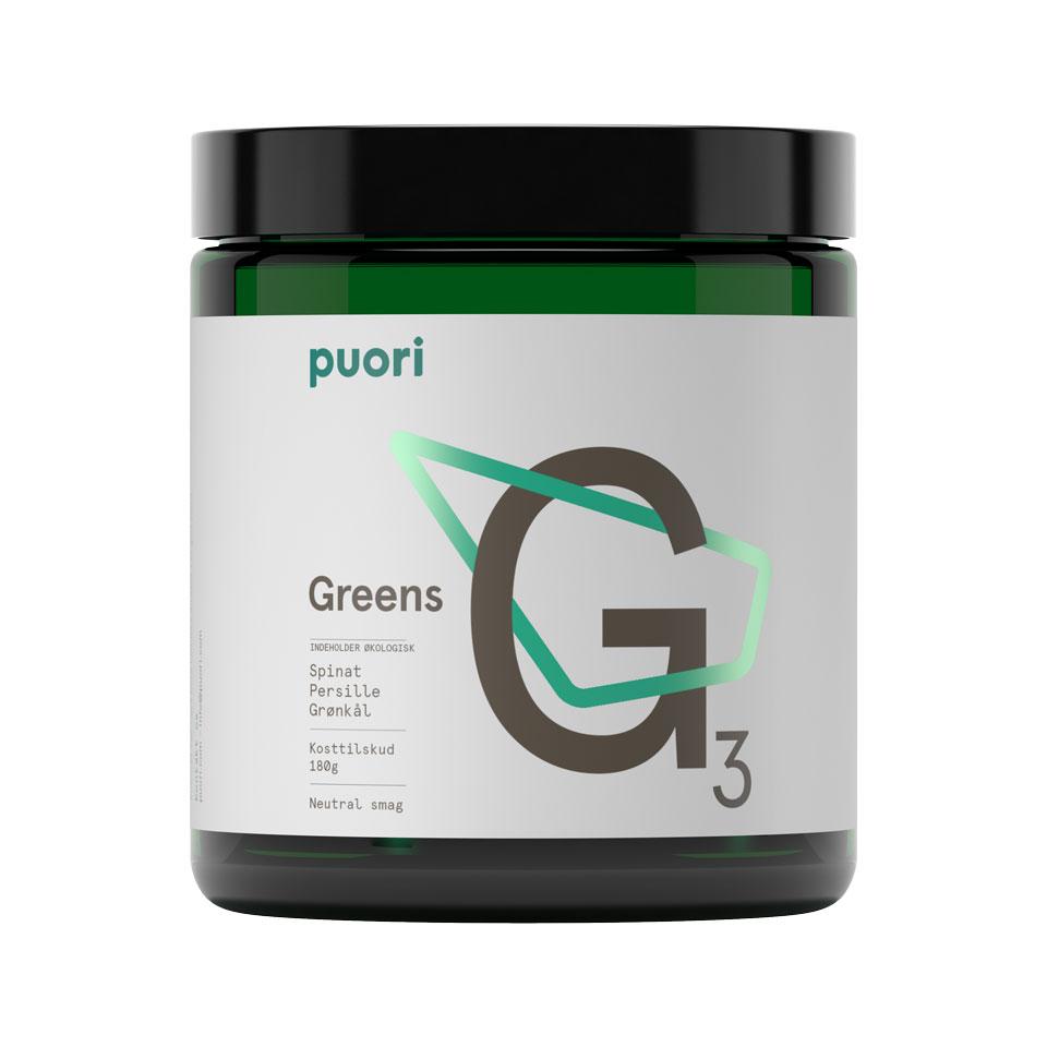 Puori G3 Organic Greens 180 gram Unflavoured - Puori