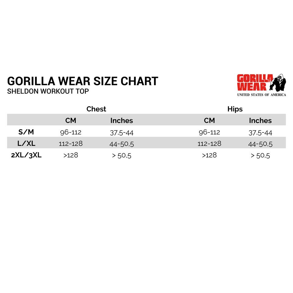Gorilla Wear Sheldon Work Out Top Storleksguide