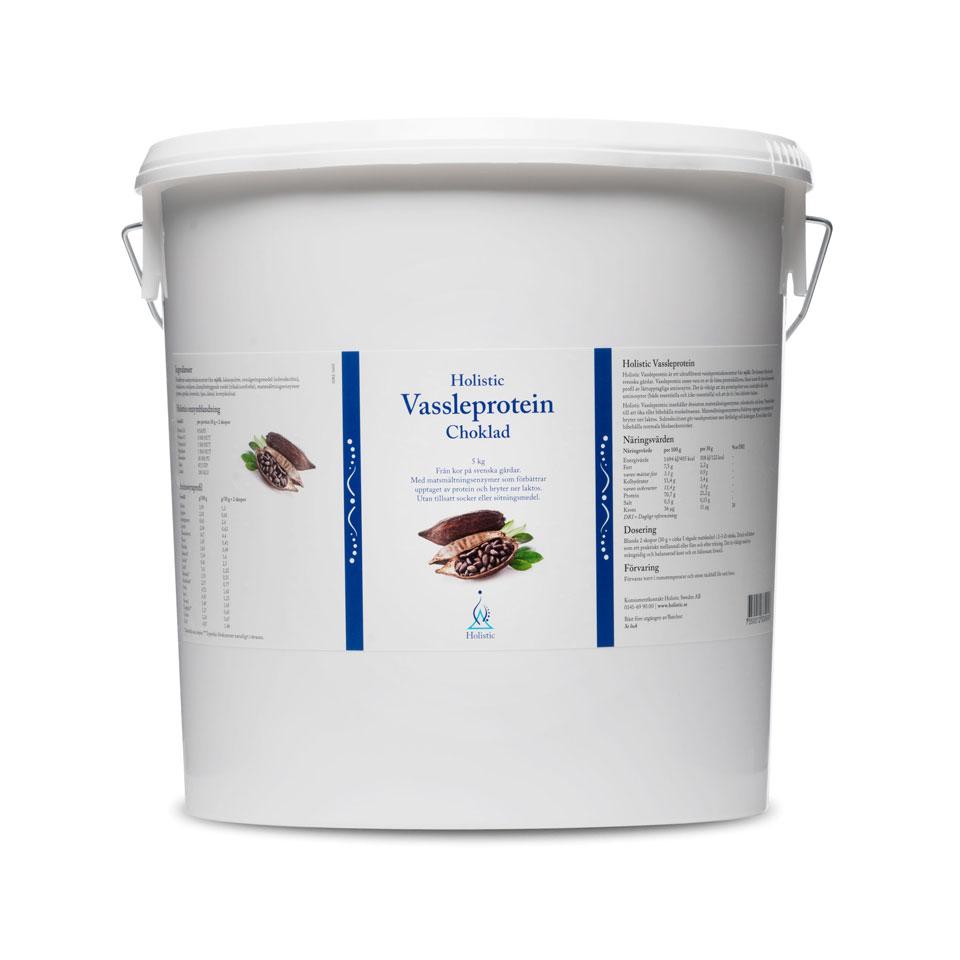 En burk med 5 kg Holistic Protein Choklad