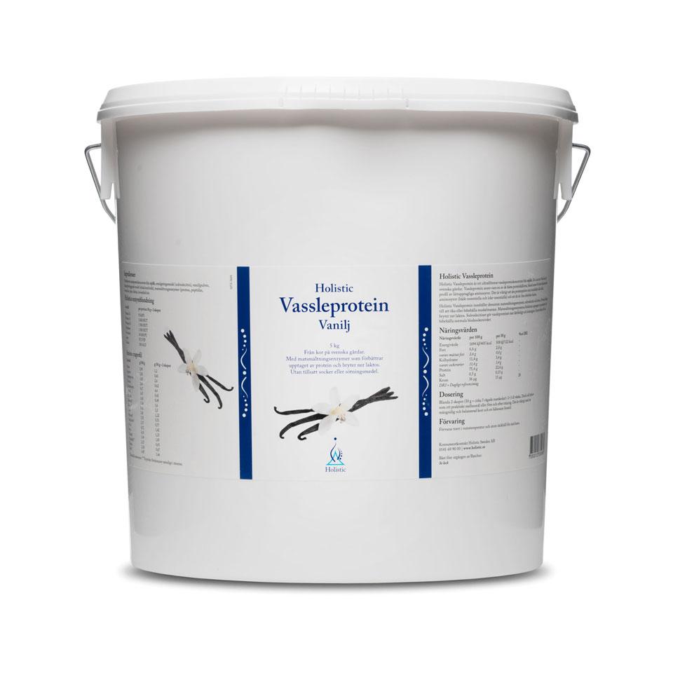 En burk med 5 kg Holistic Protein Vanilj
