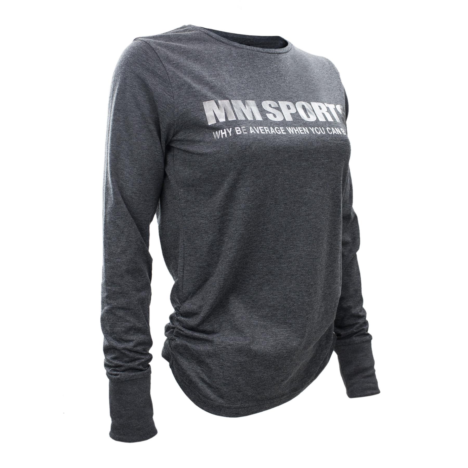 Träningströja – MM Sports L/S Tee Tyra - Dark Greymelange, Medium - Träningskläder
