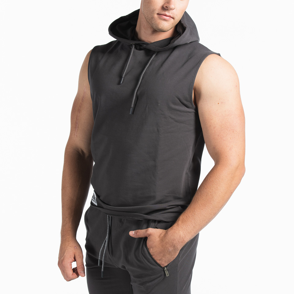 MM Sports Logo Sleeveless Hoodie Ace Antracite Front