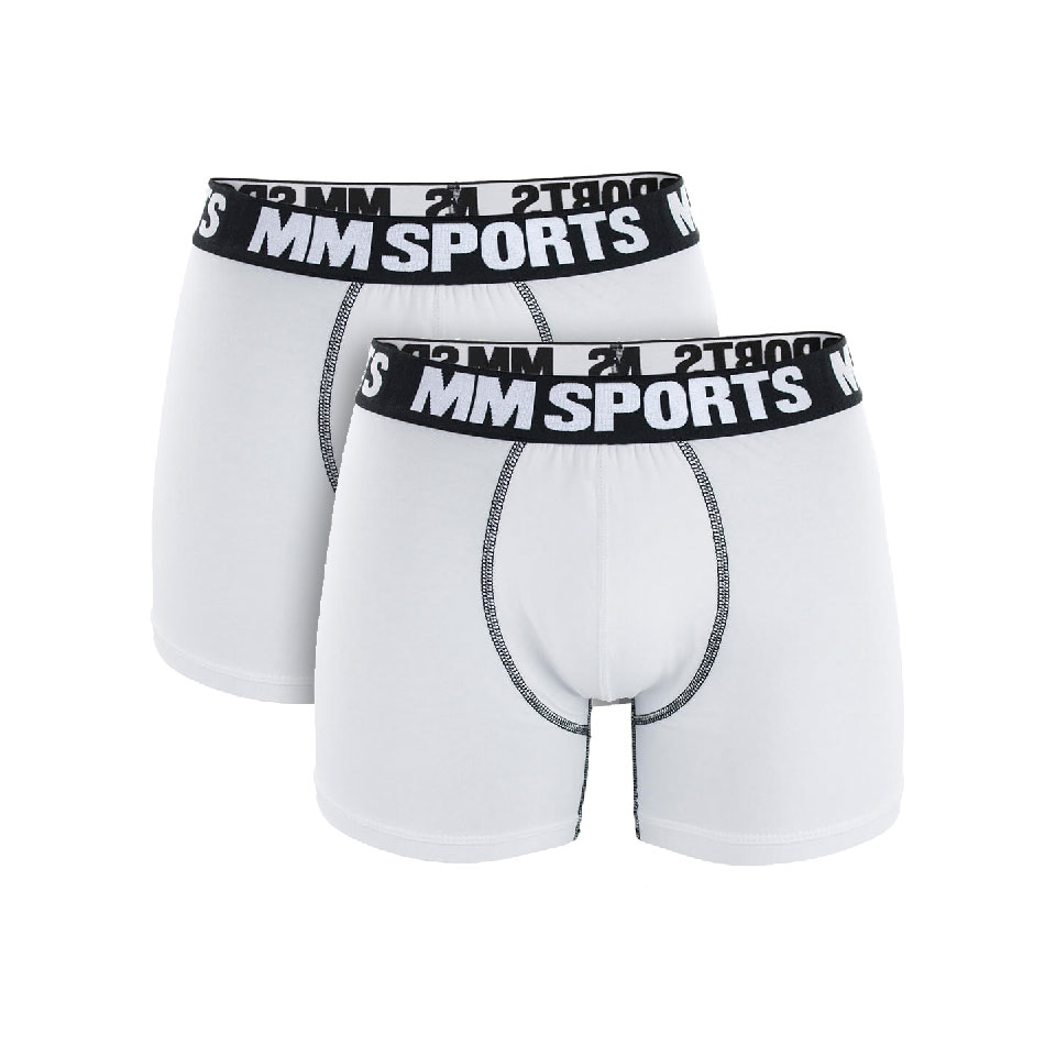 2 par MM Sports Boxer Shorts, White