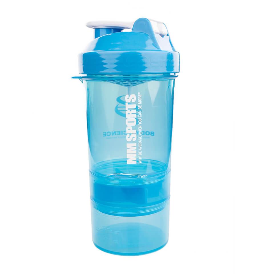 MM Sports-logga på blå SmartShake Transparent 600ml