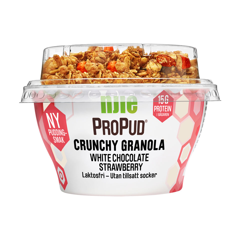 NJIE ProPud Crunchy Granola 165 gram White Chocolate Strawberry - Njie