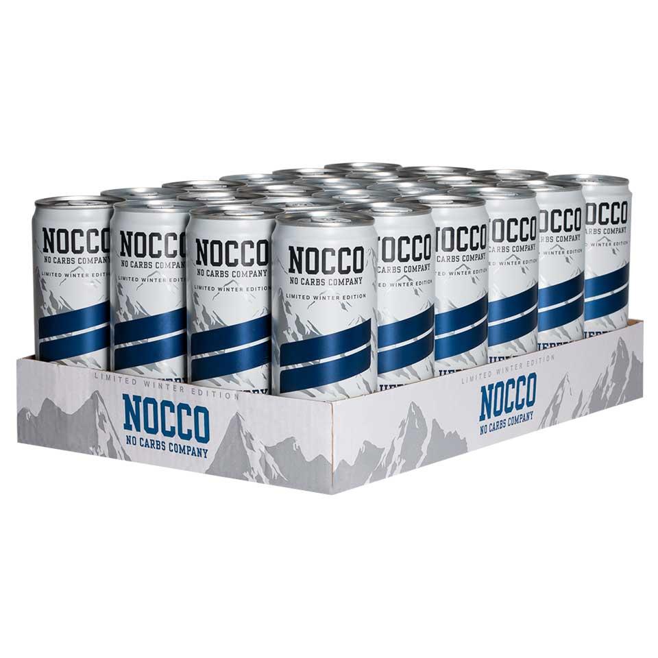 Ett flak 24-pack NOCCO BCAA Blueberry energidryck