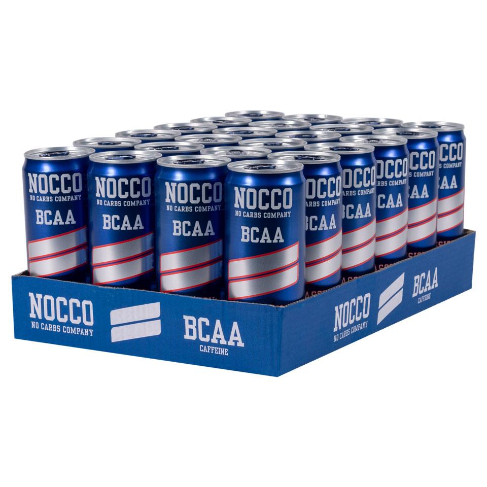 Ett flak 24-pack NOCCO BCAA Passion energidryck