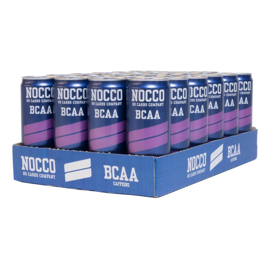 Ett flak 24-pack NOCCO BCAA Cassis energidryck