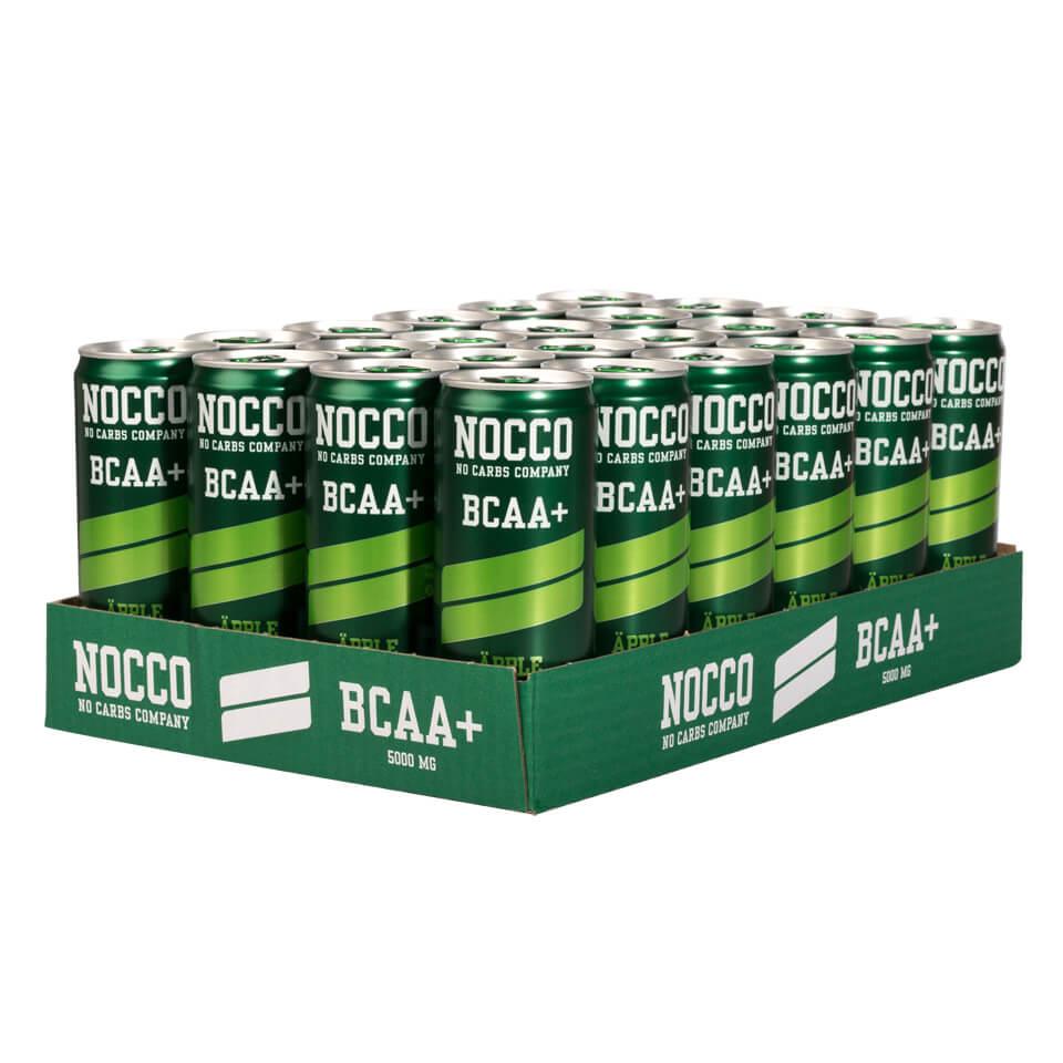 Ett flak 24-pack NOCCO BCAA Äpple energidryck