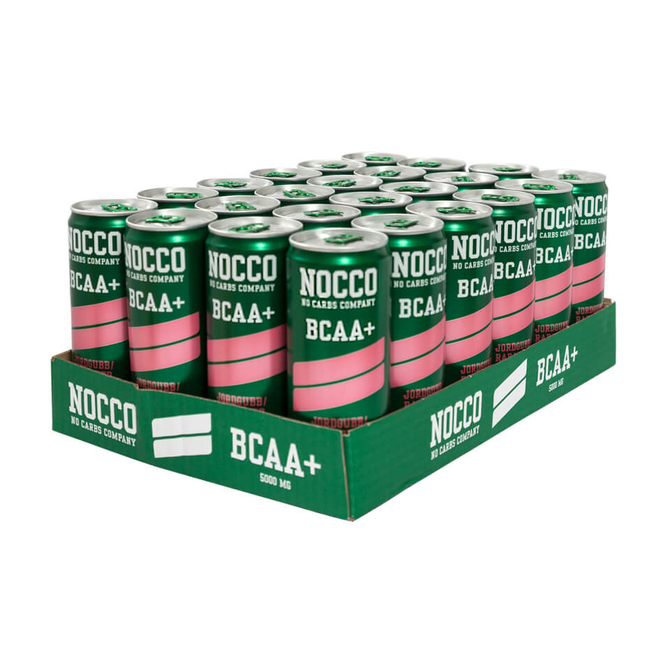 NOCCO BCAA+ Flak 24-pack Jordgubb/Rabarber