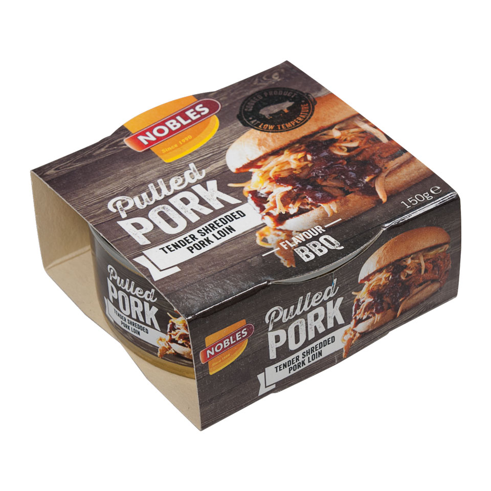 Nobles Pulled/Chunks 150 gram Pulled Pork Barbecue - Nobles