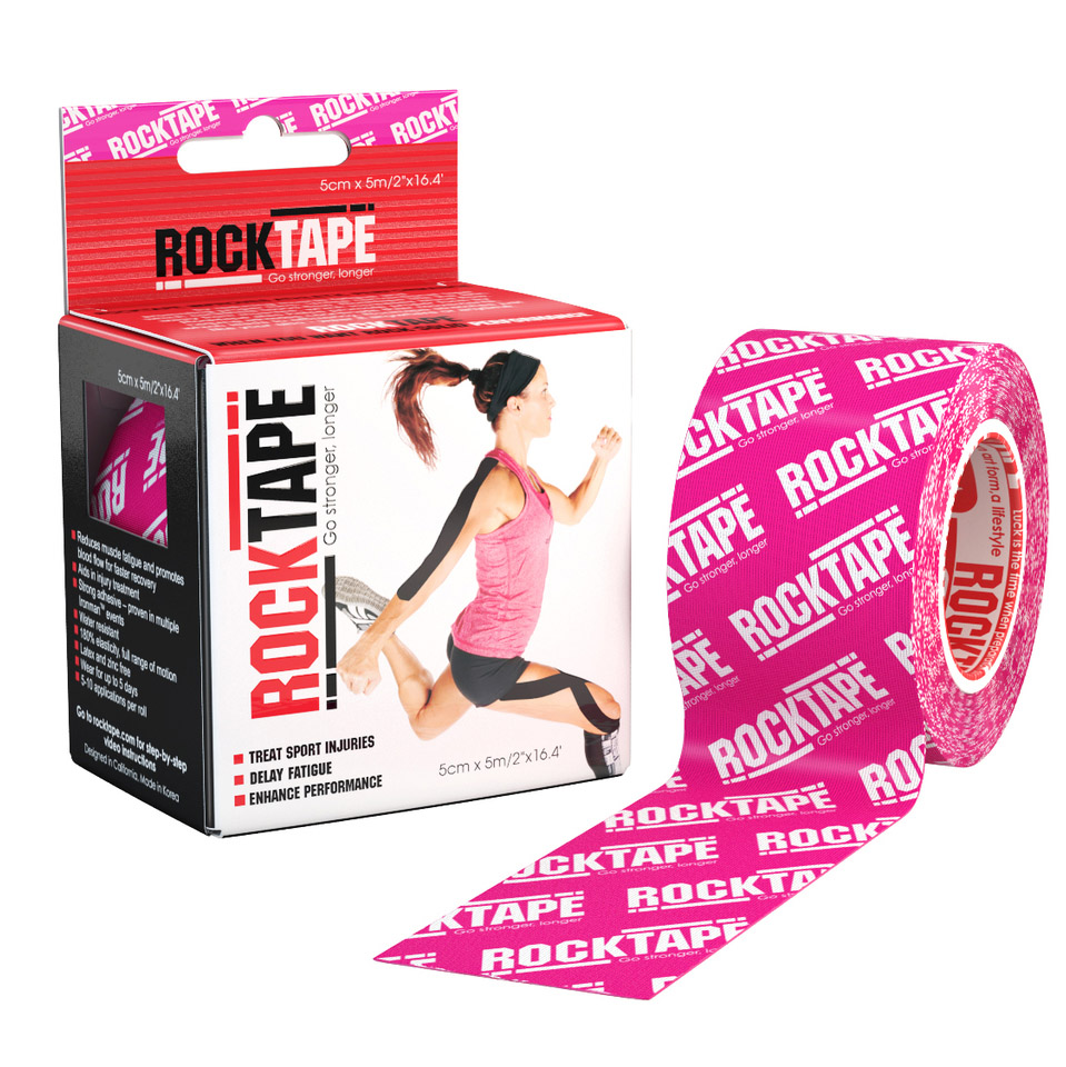 RockTape Kinesiologitejp 5cm x 5m Pink Logo - RockTape