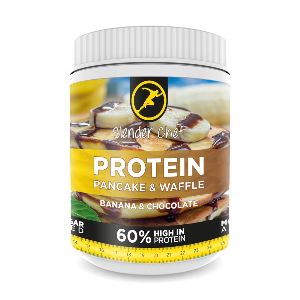 Slender Chef Protein Pancake & Waffle Mix 500 gram Banana & Chocolate - Slender Chef